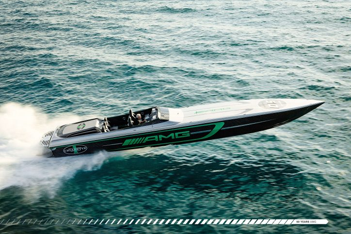 Mercedes-AMG and Cigarette Racing are celebrating 10 years of collaboration with a Cigarette Racing boat inspired by the AMG GT R (2017).