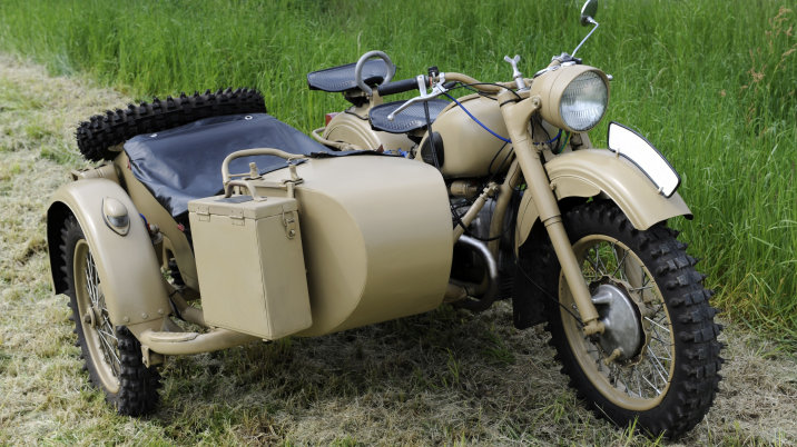 (GERMANY OUT) Germany Saxony Grimma - Ural - M63 Soviet motorcycle with side carriage from the II. World War (Photo by Harald Lange/ullstein bild via Getty Images)
